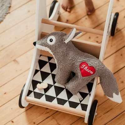 Kuscheltier Wolf mit Namenszug auch als Spieluhr