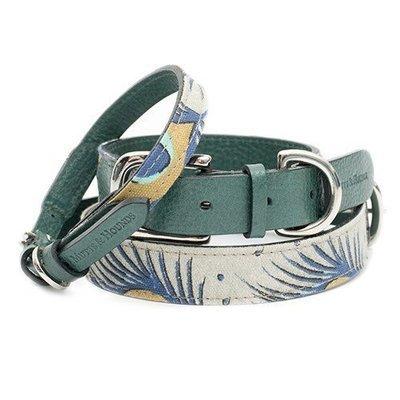 孔雀圖紋棉麻材質項圈 - 翡翠綠純義大利牛皮帶