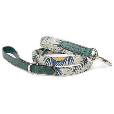 孔雀圖紋棉麻材質繫繩 - 翡翠綠純義大利牛皮帶