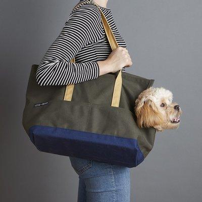 橄藍色深藍底帆布寵物包