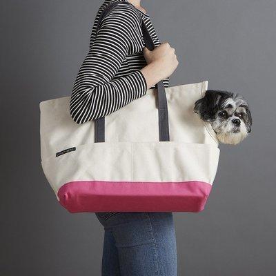 乳白色粉紅底帆布寵物包