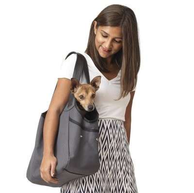 灰黑色棉質防水帆布 - 內側純羊毛寵物包