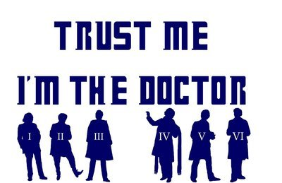 Trust Me, I'm the Doctor with 6 Doctors Vinyl Sticker
