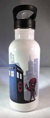Deadpool tagging the TARDIS Water Bottle