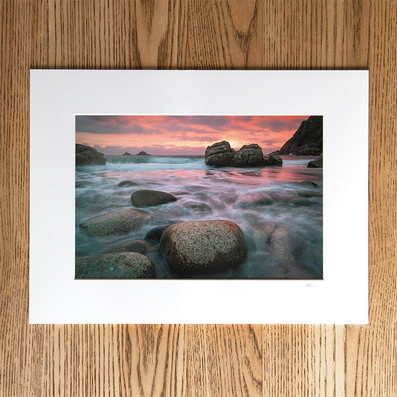 """""""PORTH NANVEN AFTERGLOW"""" 12x8 Mounted Print (16x12 mount)"""