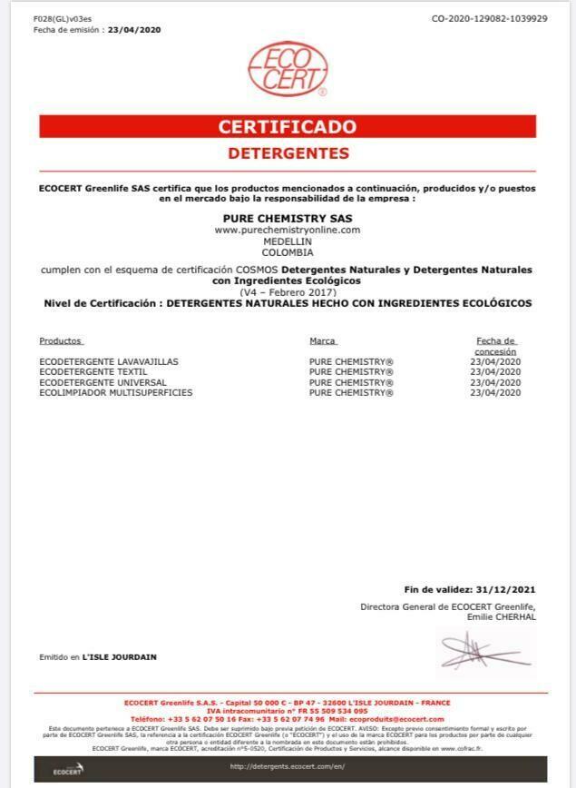 ECOdetergente LAVAVAJILLAS Rapidamente BIODEGRADABLE- Certificado Ecocert-SIN AROMA