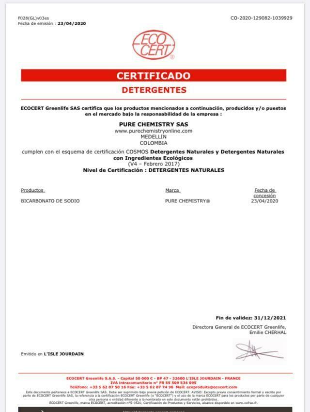 Bicarbonato de Sodio Natural -Certificado Ecocert