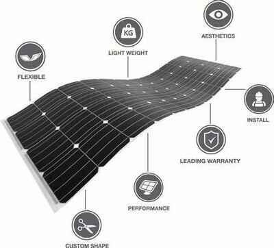 myCleantechSolarPower™ - PV-Pannel FLEX - flexibles Solarmodul f. gewölbte & runde Dächer & Fassaden