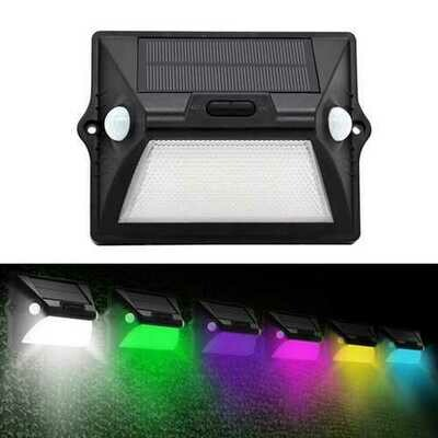 Solar Power Dual PIR Sensor Head Wall Light 12 LED RGBW Colorful Waterproof IP55 Ourdoor Garden Lamp