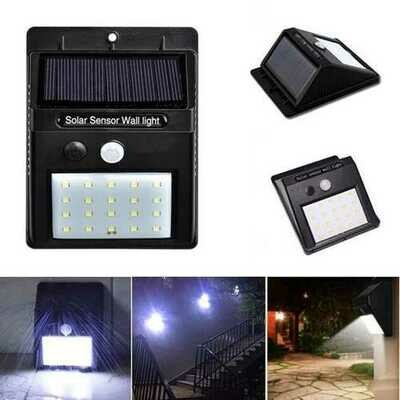 Solar Power 20 LED PIR Motion Sensor Waterproof Wall Light Outdoor Garden Security Lamp