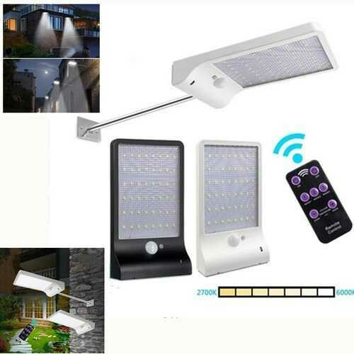 Solar Powered 48 LED PIR Motion Sensor Wall Light 7 Color Temperture Street Lamp with Remote Control