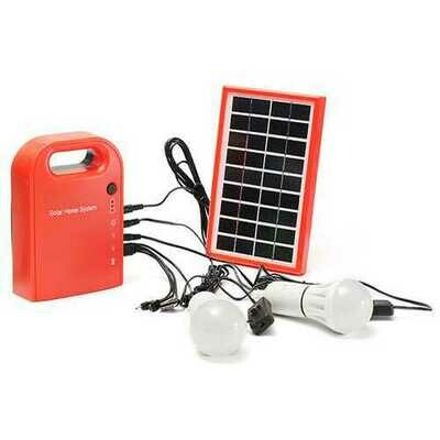 Portable Large Capacity Solar Power Bank Home System Panel with 2 LED Bulbs for Camping Light Emergency