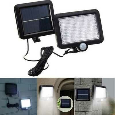 Solar Power 56 White LED PIR Motion Sensor Flood Wall Light Waterproof Outdoor Garden Security Lamp