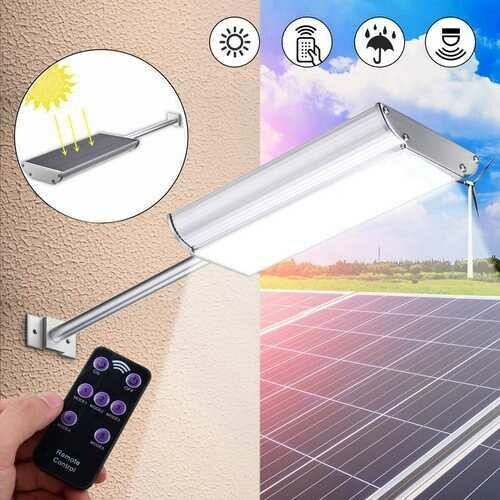 5Modes 70 LED Microwave Motion Sensor Solar Power Street Light Waterproof Wall Lamp Outdoor Garden