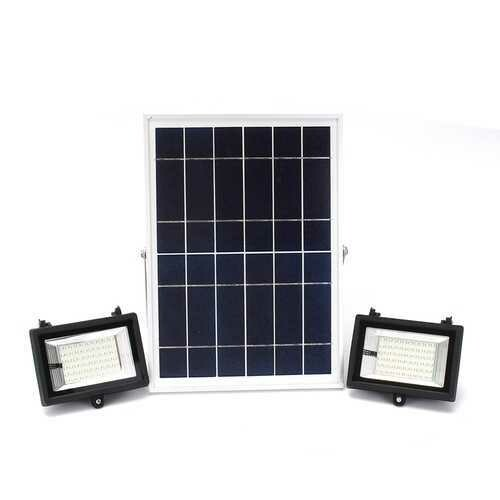 2Pcs Remote Control 60 LED Flood Light  Dimmable Timer Waterproof Solar Light Street Light