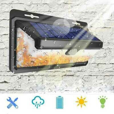 Solar Power 166 LED PIR Motion Sensor Wall Lamp With Flame Light Waterproof for Outdoor Garden