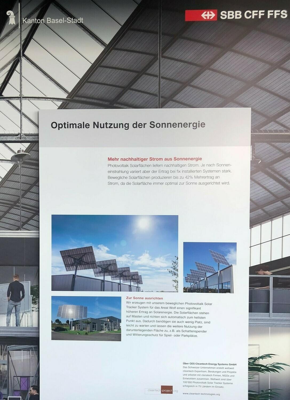Energeek® Solar Panel in einer 1. Phase für das Smart City Lab Basel der SBB für CHF 2'498 mit CHF 97 Mieteinnahmen pro Jahr während über 30 Jahren auch an anderen Standorten