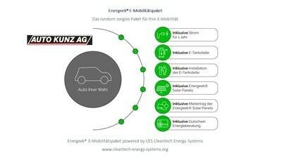 Energeek® E-Mobilitätspaket zusammen mit neuem Auto Kunz Fahrzeug (Elektro, Hybrid, Benziner etc.) mit bis zu 50 % Rabatt & bis 100 % WIR, $, Euro oder Kryptos (Bitcoin, ETH etc.) auf Rechnung kaufen