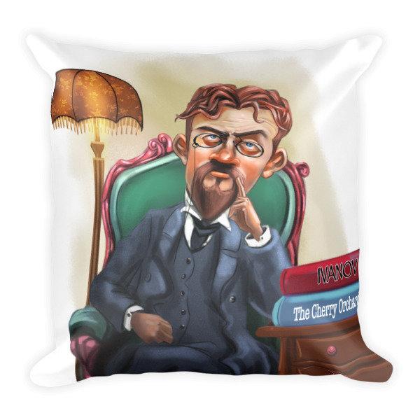 Anton Chekhov Square Pillow