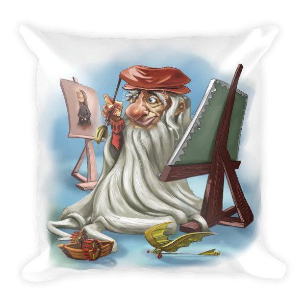 Leonardo da Vinci Square Pillow