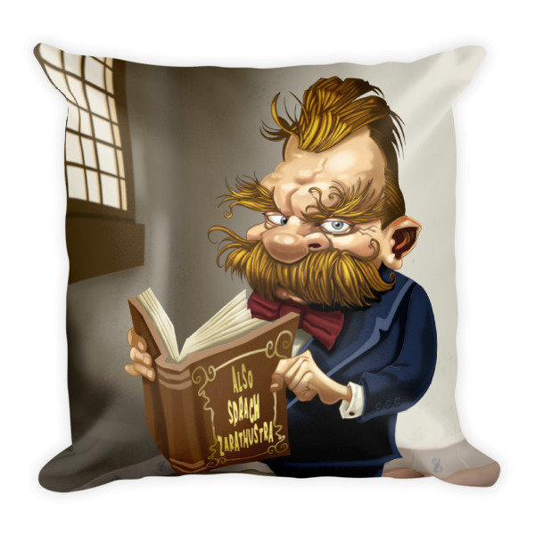 Friedrich Nietzsche Square Pillow