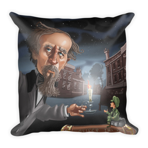 Charles Dickens Square Pillow