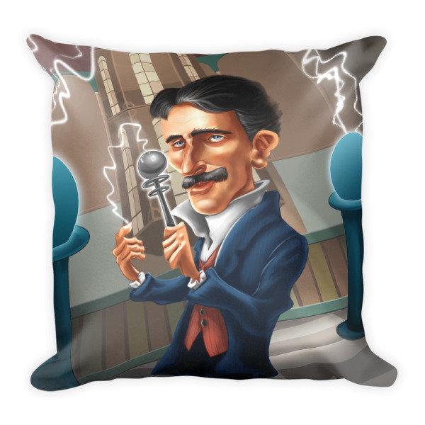 Nikola Tesla Square Pillow