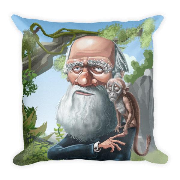 Charles Darwin Square Pillow
