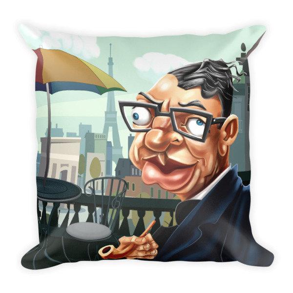 Jean-Paul Sartre Square Pillow