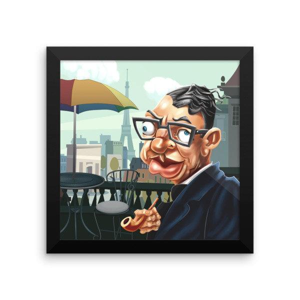 Jean-Paul Sartre Framed poster