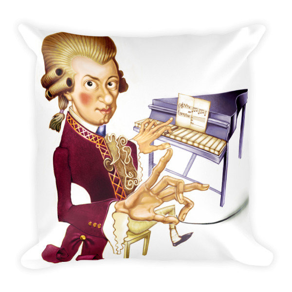 Wolfgang Amadeus Mozart Square Pillow