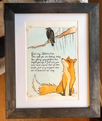 The Fox & the Crow Watercolor