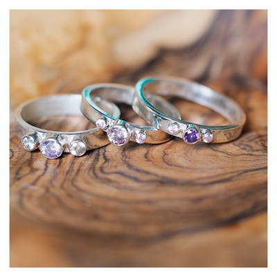 Sterling Silver 3 Gem Band (2mm,3mm and 4mm Gems)