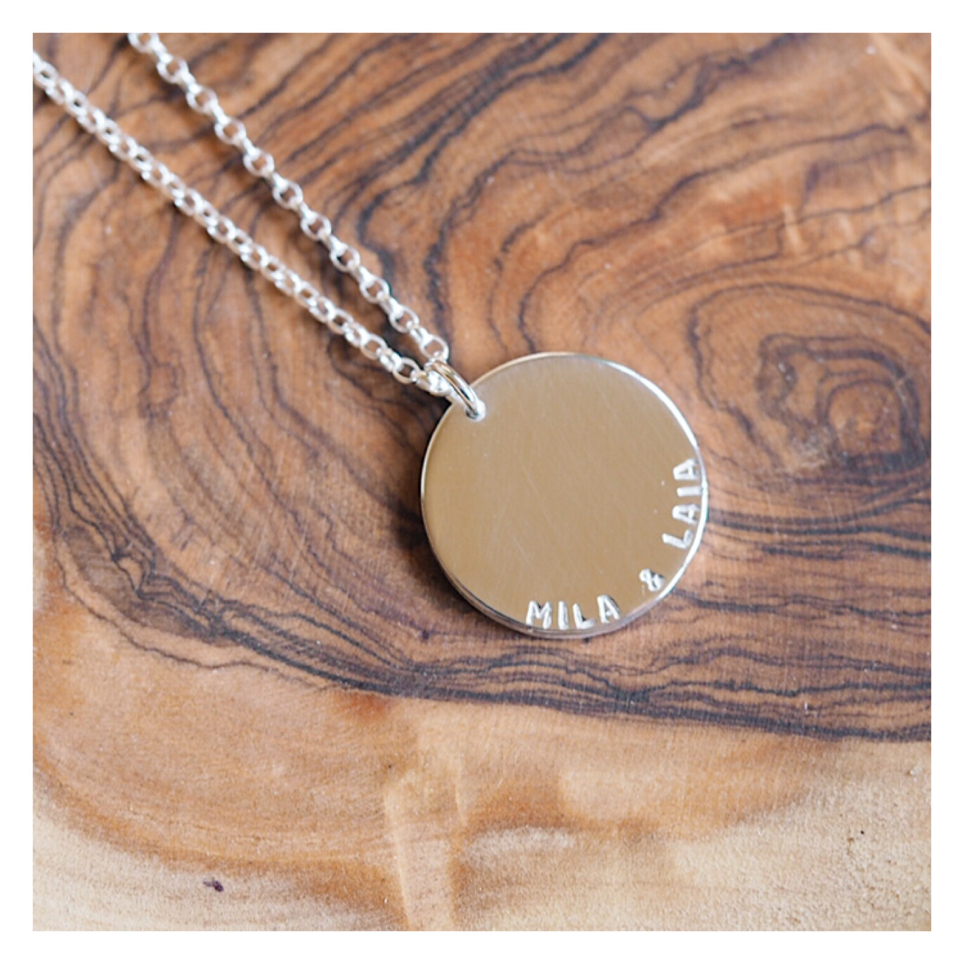 Personalised MAXI Sterling Silver Disc Necklace