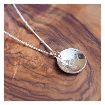 MIDI Texturised Curved Disc Necklace Sterling Silver
