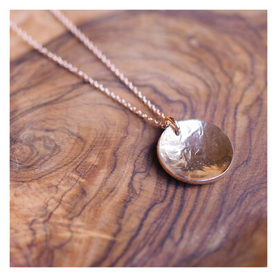 MIDI Texturised Curved Disc Necklace 14k Rose Gold Filled