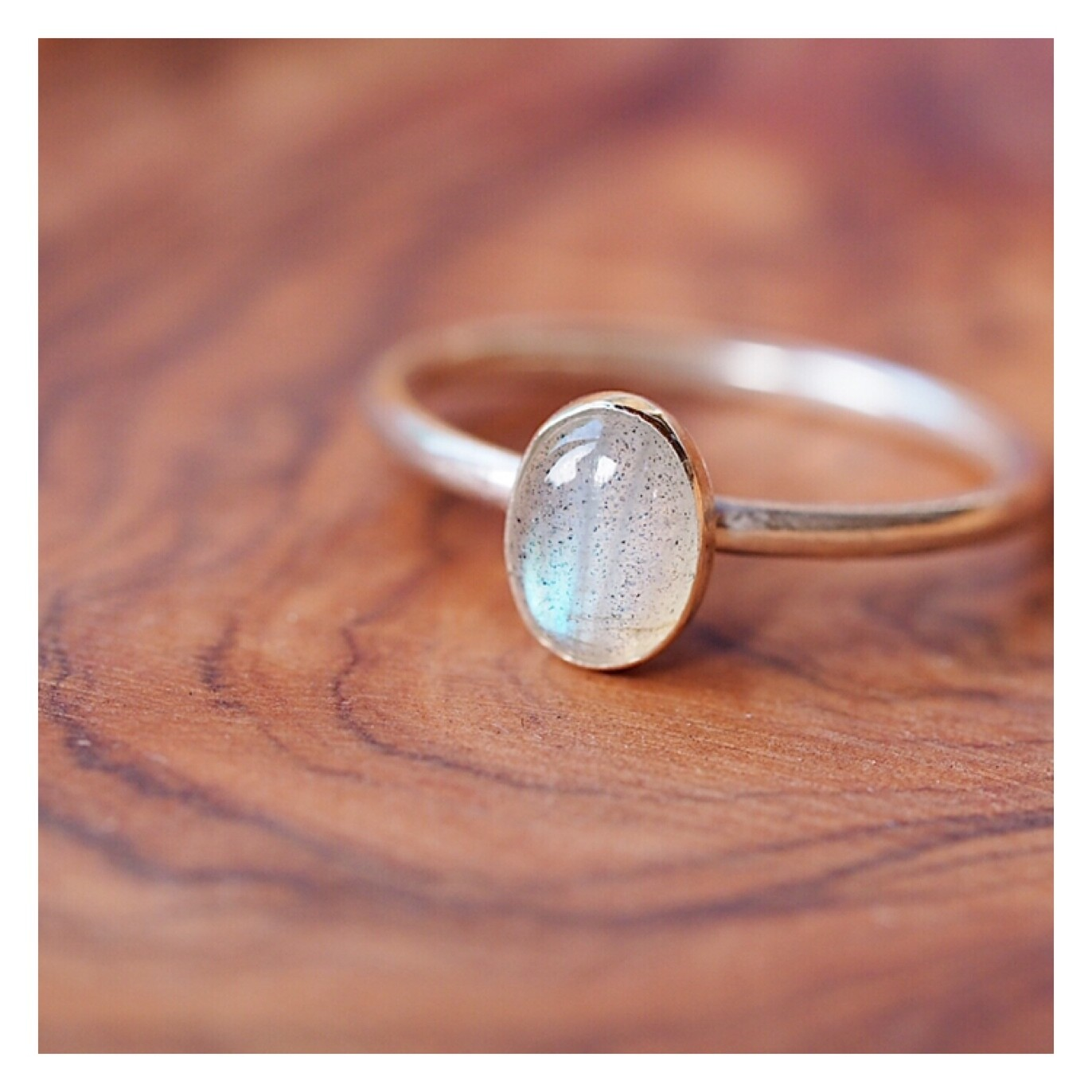 Sterling Silver Ring with Oval Labradorite Gemstone