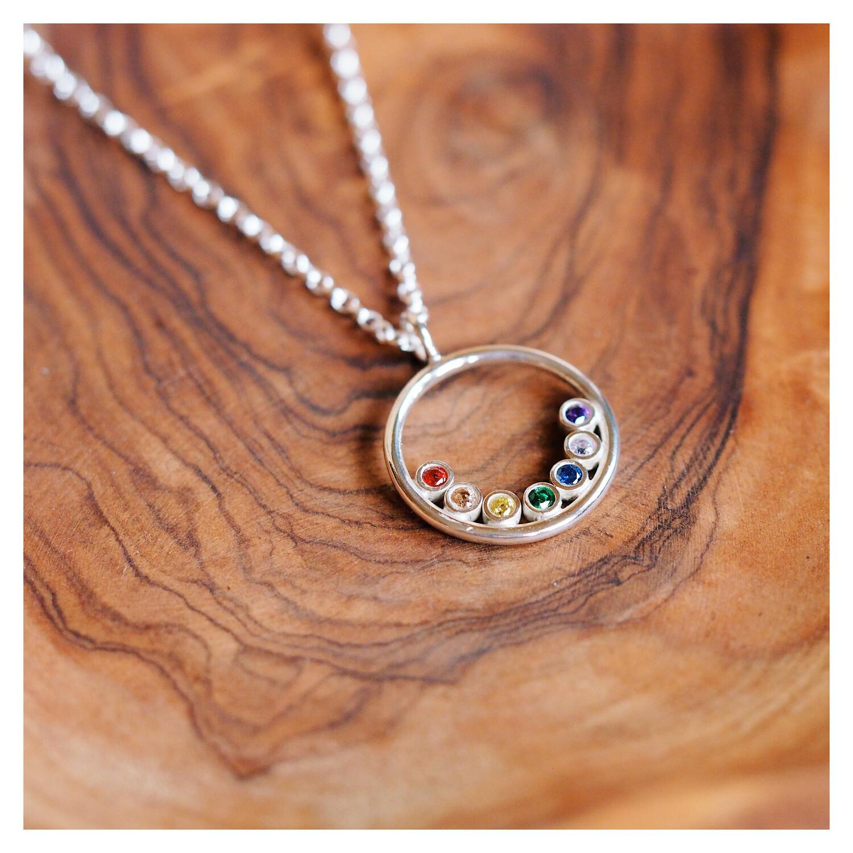 Sterling Silver Gem Halo Necklace