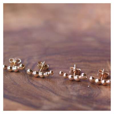 9ct Gold / 9ct Rose Gold Bobble Creeper Earrings