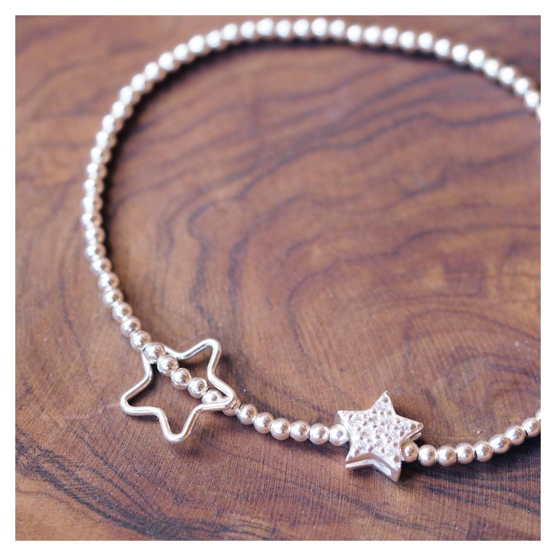 Childrens Sterling Silver Star Beaded Bracelet