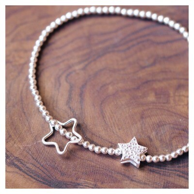Childrens Sterling Silver Star Beaded Bracelet