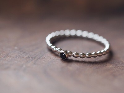 Sterling Silver Beaded Gem Stacking Ring