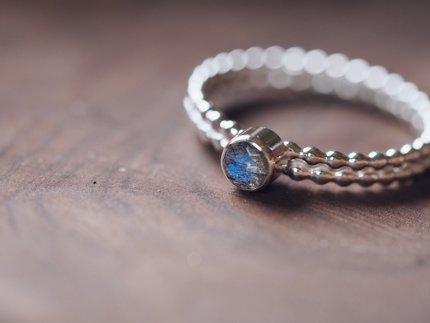 Sterling Silver Double Beaded Labradorite Stacking Ring