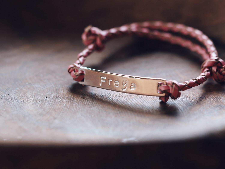 Childrens Sterling Silver Adjustable Leather Bracelet