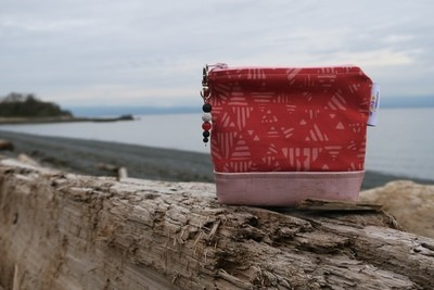 Small Carry Case -Red and Rose Gold Batik