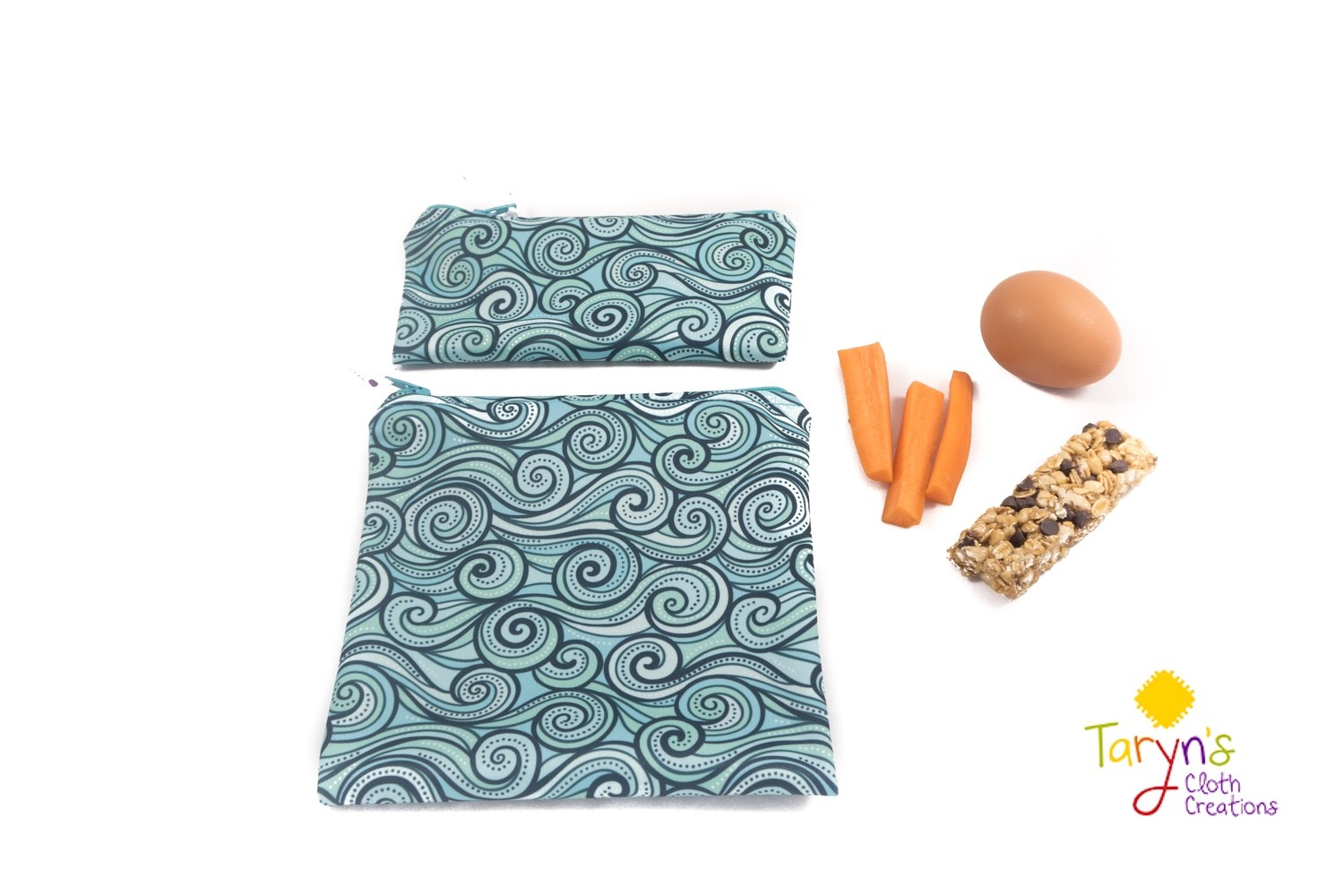 Reusable Snack and Sandwich Bag Set -Waves