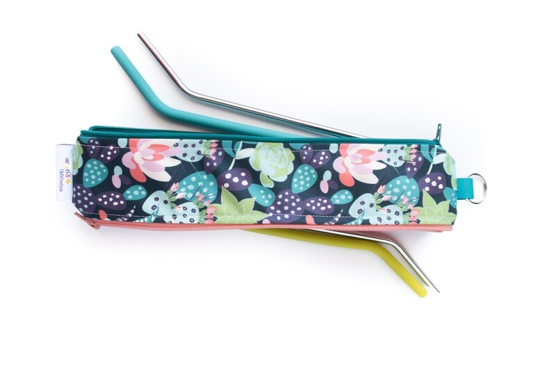 Reusable Straw Bag, Double sided -Flowering Cactus