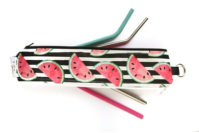 Reusable Straw Bag, Double sided -Watermelons