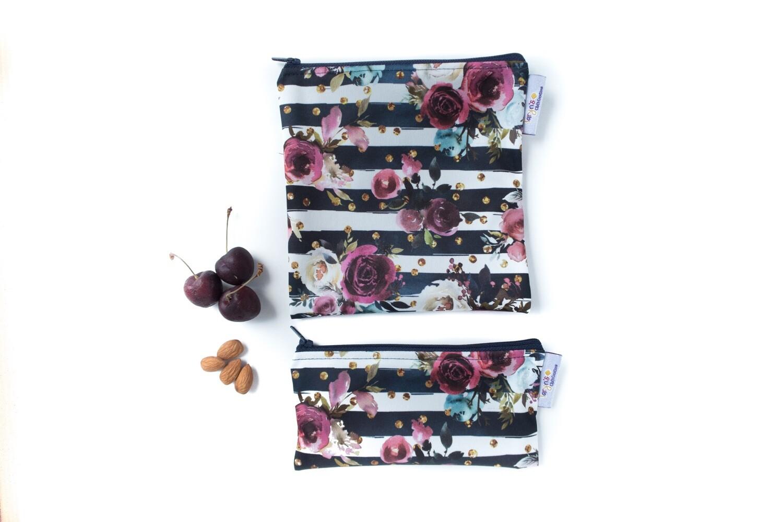 Reusable Snack and Sandwich Bag Set -merlot rose