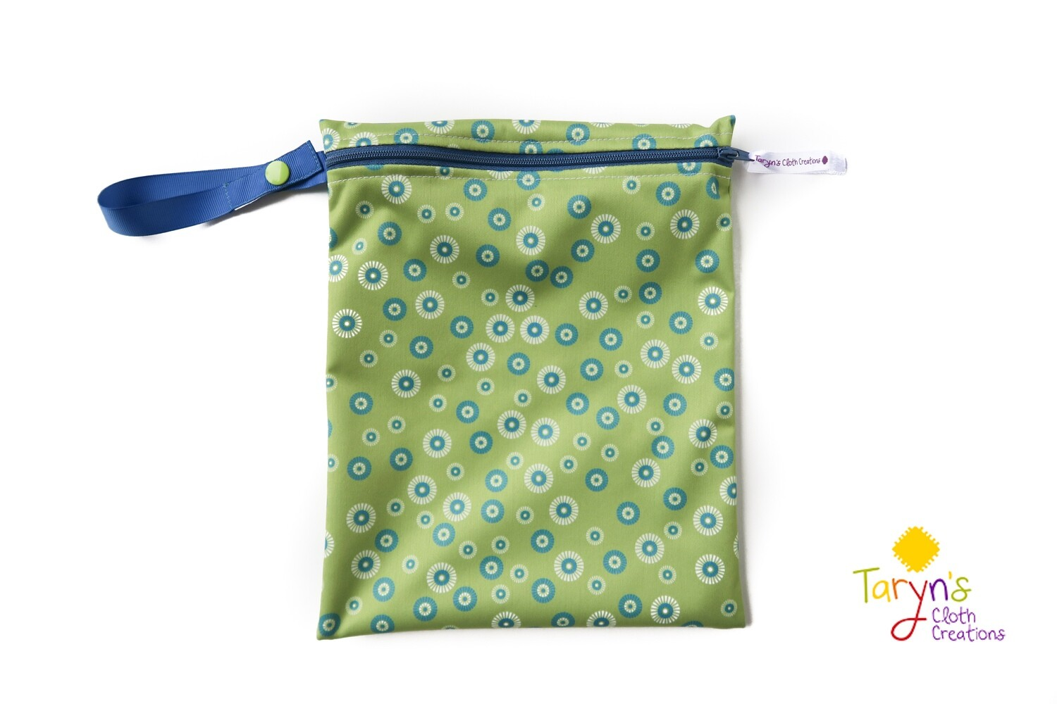 Small Wet Bag -Green with Blue Circles